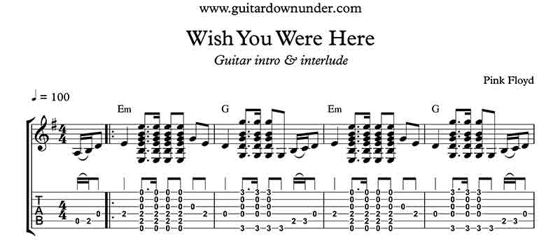 Guitar guitar tabs wish you were here : Wish you were here tab second solo