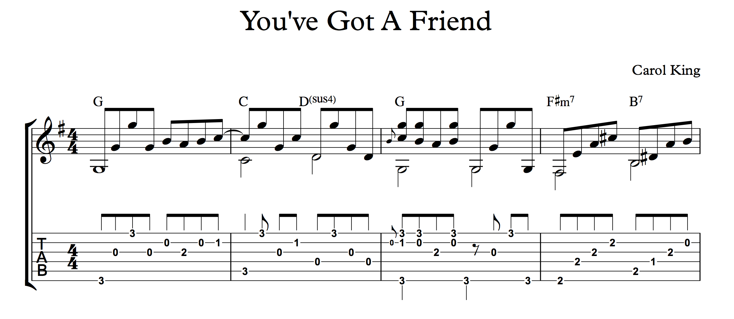 You've Got A Friend for fingerstyle guitar